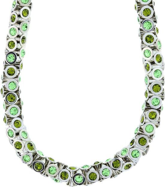 Klassieke tonnetjes ketting zilverkleur met kristal groen