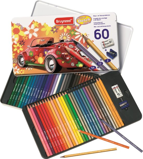 Bruynzeel Super Sixties Kever 60-delig kleurblik met potloden, gum en slijper