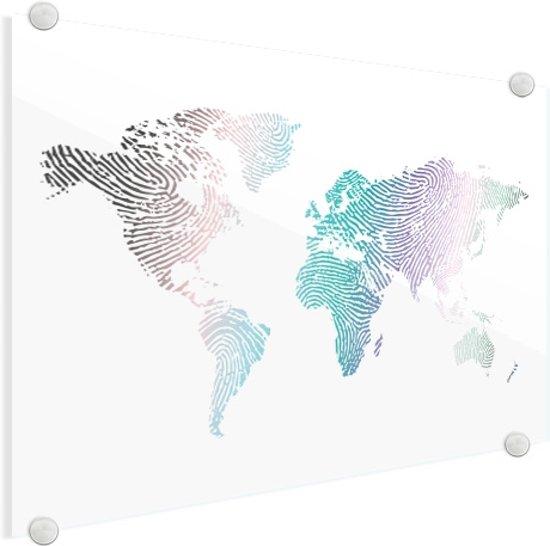 Wereldkaart vingerafdruk kleur plexiglas groot 120x80 cm