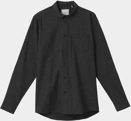 Minimum Heren Overhemd Jay 2.0 Donkergrijs Egaal Flanel Slim Fit - M