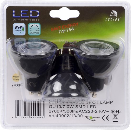 Lucide LED BULB - Led lamp - Ø 5 cm - LED Dimb. - GU10 - 3x7W 2700K - Zwart - Set van 3