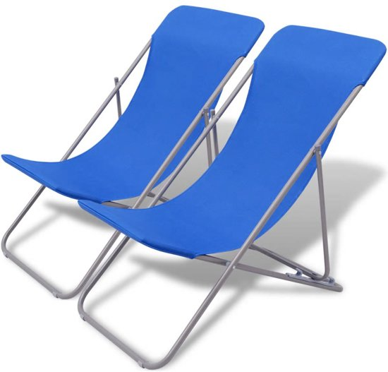 Strandstoel Bol Com.Vidaxl Inklapbare Strandstoel 2 St Blauw