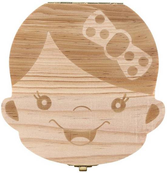 Houten Tandendoosje - Duurzaam en Compact - Meisje - Voor melktanden