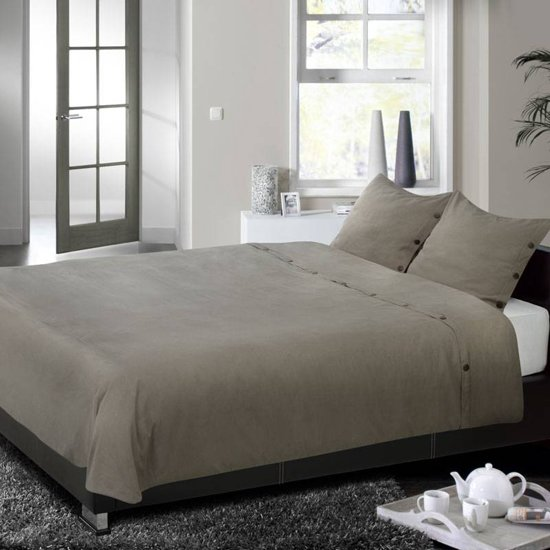 descanso dekbedovertrek taupe lits jumeaux 240x200 220 cm 2 slopen. Black Bedroom Furniture Sets. Home Design Ideas
