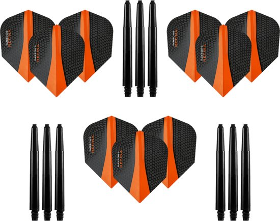 9 stuks Harrows Retina – Oranje – Darts flights - en 9 stuks Dragon Darts - Medium – darts shafts