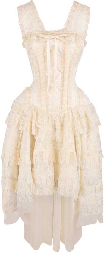 8a05334b99b7e0 Victoriaanse gelaagde korset jurk met kant en lint detail cr me - Burlesque  - XS