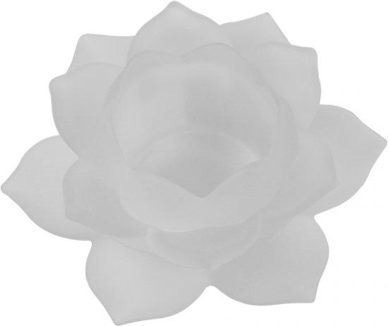 Sfeerlicht - Lotus - glas - wit - 5.5 x 12 cm