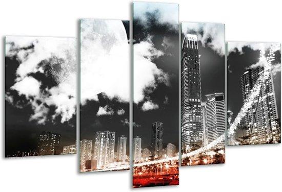 Glasschilderij Modern | Rood, Grijs, Zwart | 170x100cm 5Luik | Foto print op Glas |  F004423