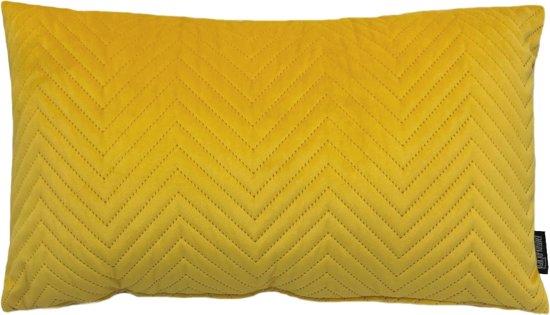 Yellow Chevron Velvet Long Kussenhoes | Fluweel / Velours | Geel | 30 x 50 cm