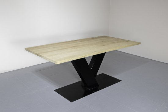 Eettafel Industrieel | V-poot-gekruist-blank | 40mm-boomstam-200x100-pure