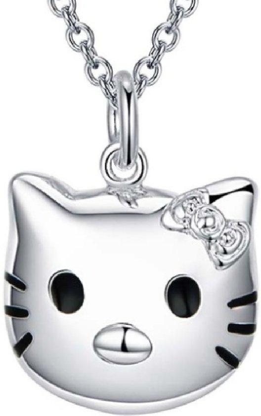 Ketting- Hello Kitty- Verzilverd- Zirkonia steentje- 1.5 cm