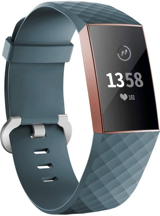 123Watches.nl Fitbit charge 3 sport wafel band - leisteen - SM