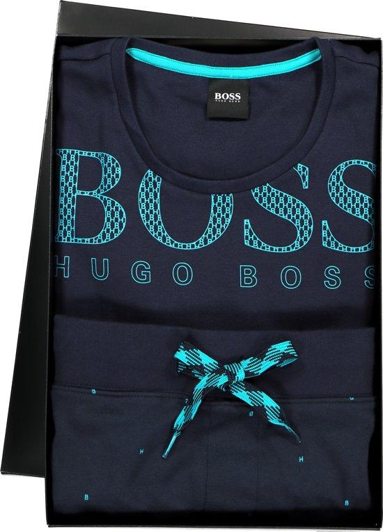 Hugo Boss heren pyjama set in cadeauverpakking - blauw -  Maat XL