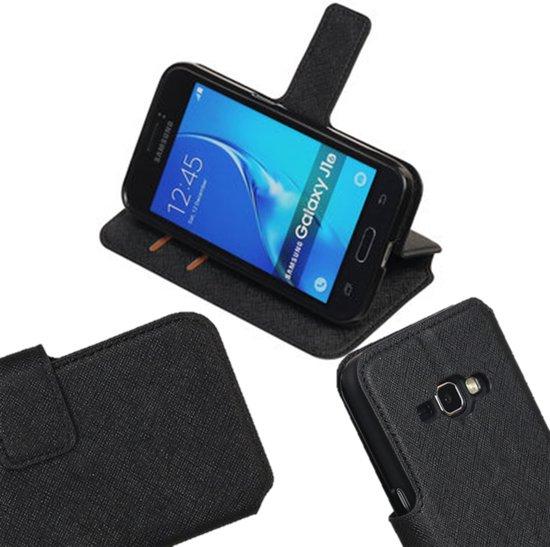 MP Case Zwart ribbel structuur TPU PU leder hoesje voor de Samsung Galaxy J1 (2016) Booktype - Telefoonhoesje - smartphonehoesje - beschermhoes. in Boorsem