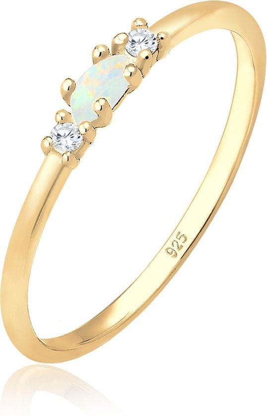 Elli Ring vintage zirkonia marquise opaal  925 zilver verguld