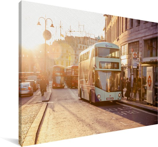Een gekleurde dubbeldekker bus Canvas 120x80 cm - Foto print op Canvas schilderij (Wanddecoratie woonkamer / slaapkamer)