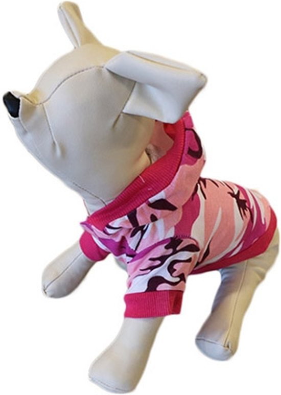 Camouflage shirt roze met muts voor de hond. - L (rug lengte 30 cm, borst omvang 46 cm, nek omvang 30 cm )