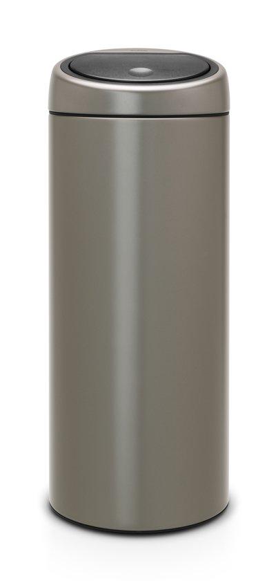 Brabantia Touch Bin 30 Liter Platinum met Platinum Deksel