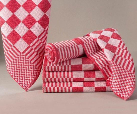 Homéé - Blokdoeken pompdoeken theedoeken rood / wit |set van 6 stuks | 65x65cm