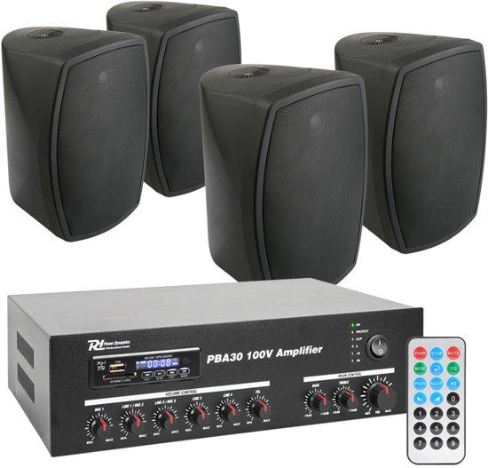 power dynamics pba30 100v geluidsinstallatie met 4 zwarte