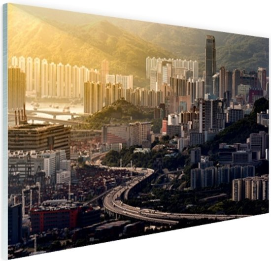 Uitzicht over Hong Kong Glas 120x80 cm - Foto print op Glas (Plexiglas wanddecoratie)