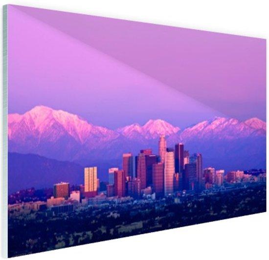 Los Angeles in het paarse avondlicht Glas 120x80 cm - Foto print op Glas (Plexiglas wanddecoratie)