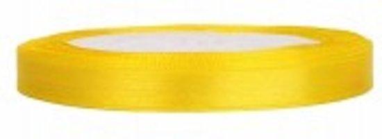 Satijn Lint, Geel  6 mm Breed, 25 meter lint.
