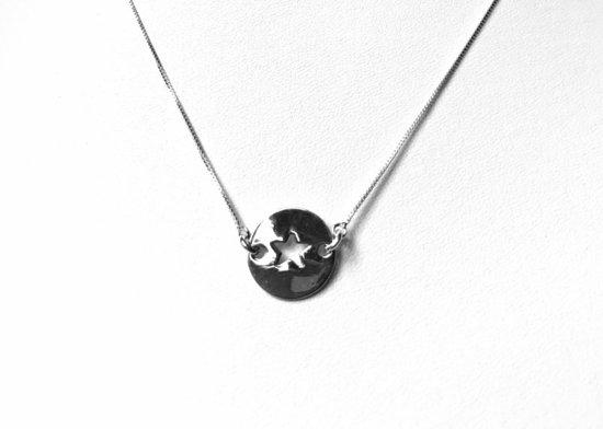 Zilveren pentagram in cirkel ketting