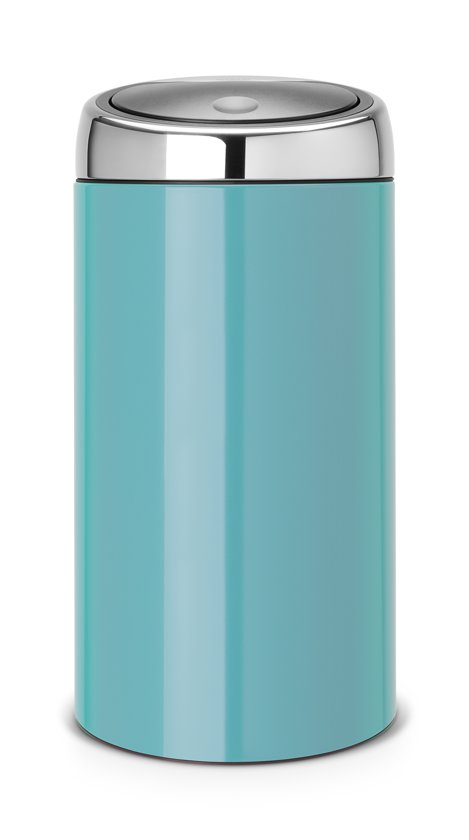 Prullenbak Brabantia Touch Bin 45 Liter.Brabantia Touch Bin Prullenbak 45 L Caribbean Blue Met Brilliant Steel Deksel