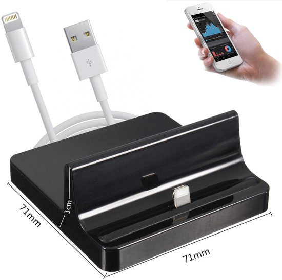 docking station voor iphone 4 iphone 5 iphone 6 en ipad 4 mini pianolak zwart. Black Bedroom Furniture Sets. Home Design Ideas
