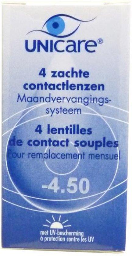 Unicare Maand -4.50 - 4 stuks - Contactlenzen