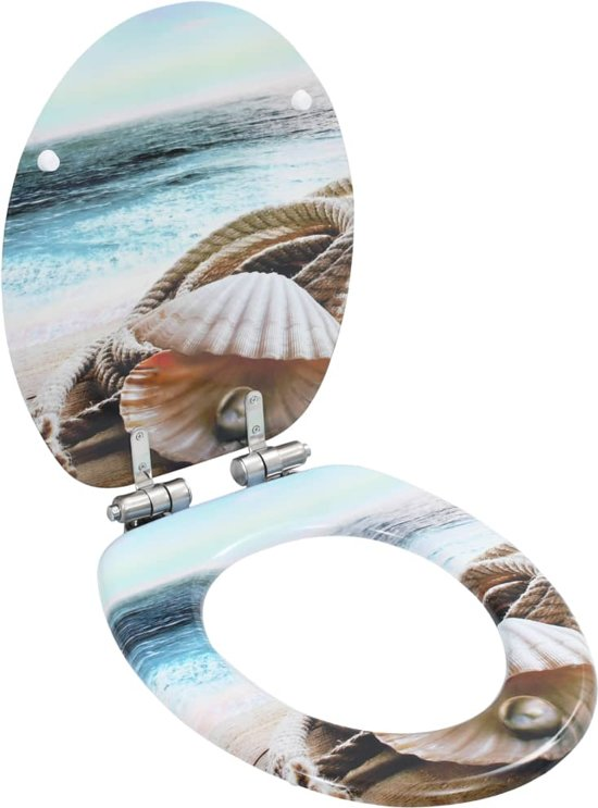 vidaXL Toiletbrillen 2 st met soft-close deksels MDF mosselontwerp