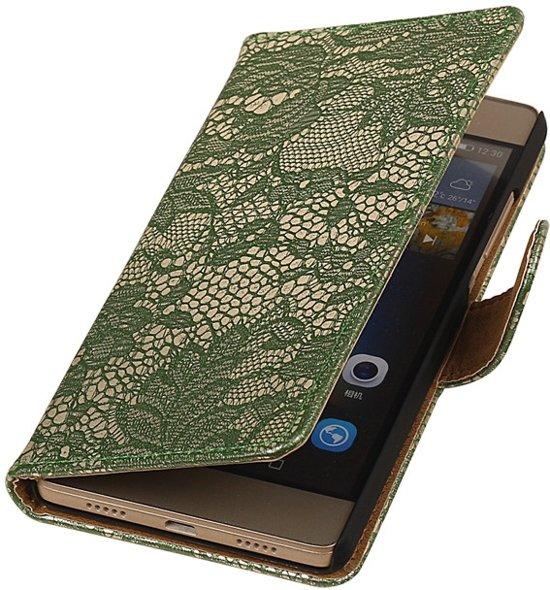 Donkergroen bloem design booktype voor de Huawei P8 Lite hoesje in Kampen