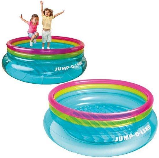 INTEX | Opblaasbaar Springkussen Jump-o-Lene voor Binnen & Buiten | Afmetingen: 203 x 203 x 69 cm | Springkussen | Opblaasbare Trampoline | Kleur: MULTI COLOR DOORZICHTIG