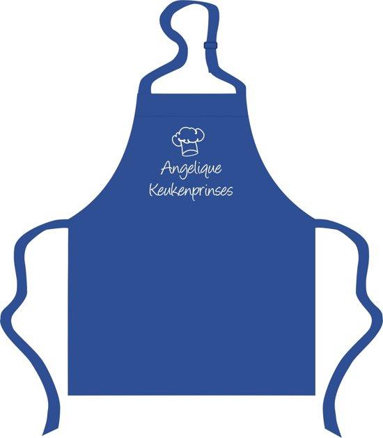 Mijncadeautje - Kinderschort - blauw -  Keukenprinses  - met voornaam naar keuze
