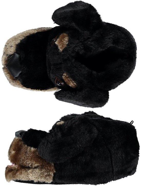Dieren sloffen/pantoffels zwarte hond voor dames - volwassenen 37-38