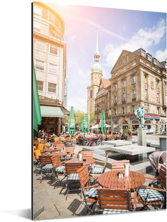 Zonnestralen in de binnenstad van Dortmund in Duitsland Aluminium 80x120 cm - Foto print op Aluminium (metaal wanddecoratie)