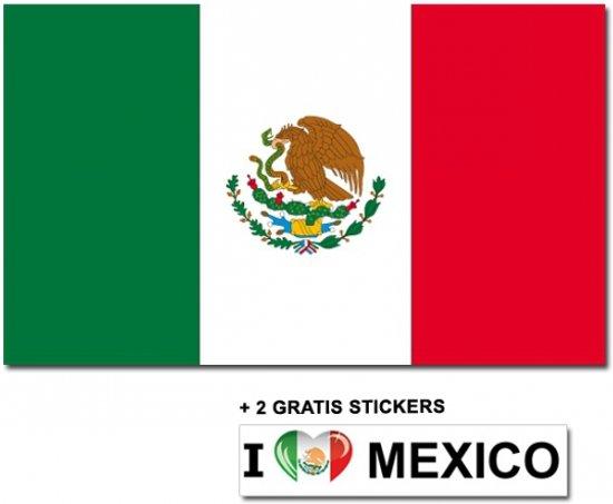 Mexicaanse vlag met 2 gratis Mexico stickers