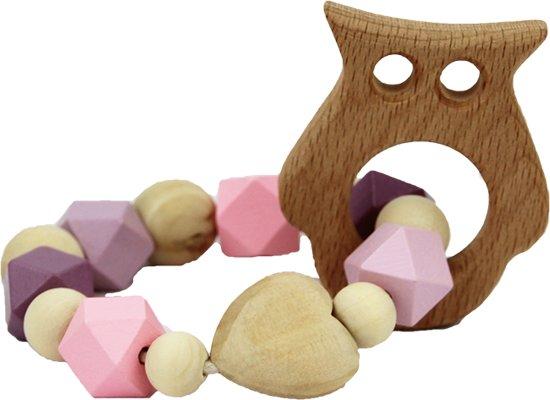 Afbeelding van Bijtring uil | Houten | Gehaakte | Kralen | Kraamcadeau | Handmade speelgoed