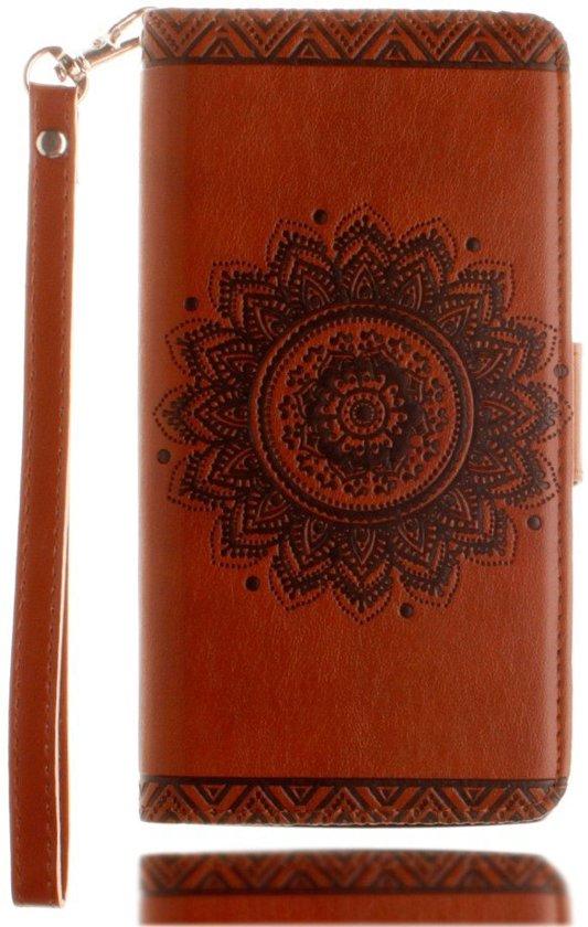 Shop4 - iPhone 8 Hoesje - Wallet Case Vintage Mandala Bruin in Hindeloopen / Hylpen