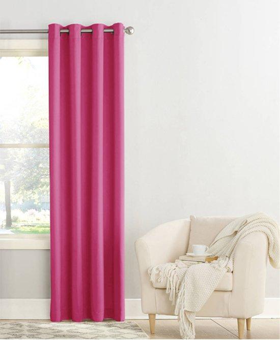 bol.com | Kant-en-klaar gordijn Ravenna roze, lichtdoorlatend, met ...