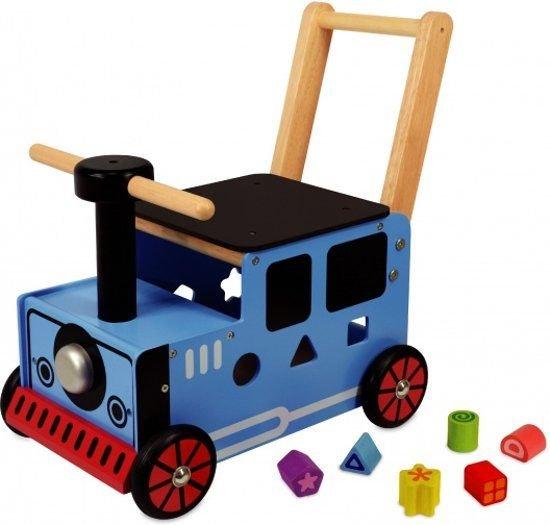 Houten loopwagen trein Thomas Tank met blokken