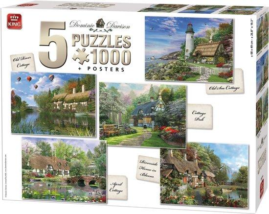 King 5 in 1 Puzzel 1000 Stukjes (68 x 49 cm) - Cottage Collectie - Vijf Legpuzzels met Voorbeeldposters - Volwassenen