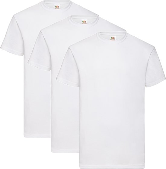 3 Pack Witte shirts Fruit of the Loom Ronde hals maat XL Valueweight