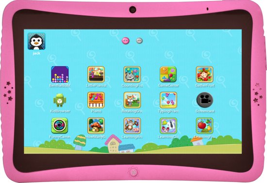 Roze Kinder Tablet.Axxo Kindertablet Roze