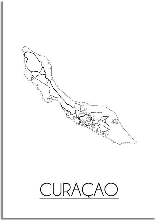 Plattegrond Curacao Stadskaart Poster DesignClaud - Wit Grijs - A4 poster