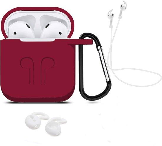 3 in 1 set! Hoesje voor Airpods siliconen case cover beschermhoes + strap + earhoox voor Apple Airpods - bordeaux rood