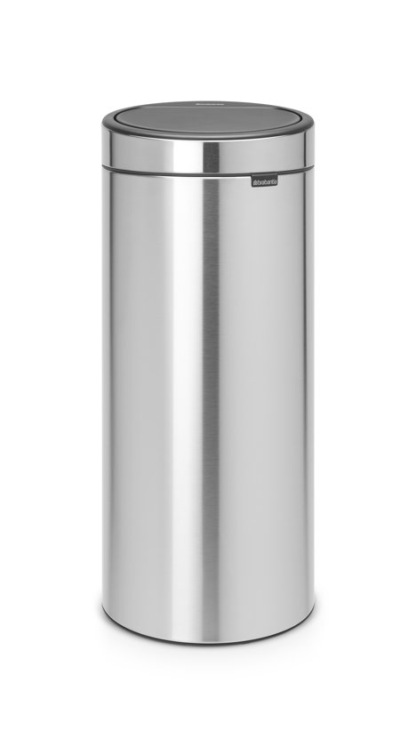 Brabantia Touch Bin 30 L Mat Zwart.Brabantia Touch Bin New Prullenbak 30 L Matt Steel