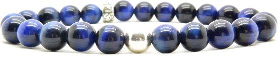 Beaddhism - Armband - Blauwe Tijger - Silver Bead - 8 mm - 21 cm
