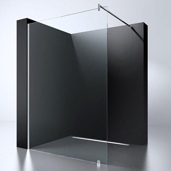 Inloopdouche Erico 100x200cm Antikalk Helder Glas Chroom Profiel 8mm Veiligheidsglas Easy Clean